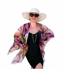 Plus SIze Kimono Jacket Coverup, Floral Top, Sheer Chiffon, Purple Orchid Blazer
