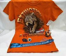 UNIVERSAL STUDIOS JURASSIC PARK 4 PC SET WITH ADULT SMALL T-SHIRT & SHOT GLASS