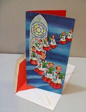 Vtg Card Highlights for Christmas Choir Boys Stained Glass Window 50's