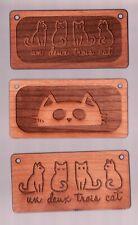 """3 NEW Cute wooden plaques -  un deux trois cat  ------  2"""" x 4"""" ---- superfleas"""