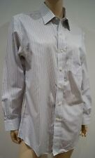 BROOKS BROTHERS Mens Blue White Cotton Slim Fit Stripe Formal Dress Shirt 15.5