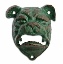 Bottle Opener Cast Iron Bull Dog Head Wall Mounted Bar Beer Opener Verdigris