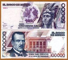 SET Mexico 50000;100000 Pesos, 1986-1988 P-93a-94a, Rare Matching S/Ns A, AA UNC