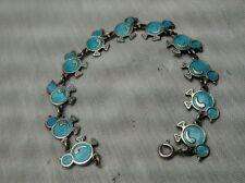Pretty vtg. Meka sterling 925 Denmark blue enamel chicken links bracelet