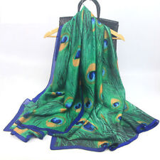 Women Peacock Feather Silk Scarf Hijabs Scarves Wraps Shawl Pashmina 180x90cm