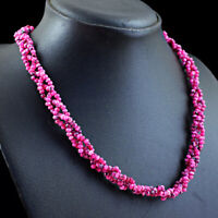 140.00 Cts Earth Mined Pink Onyx Round Shape Faceted Beads Necklace NK 46E114