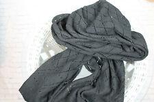 Noa Noa Women's Black Rhombus Knit Long Wrap Scarf Shawl One Size - 96 inch