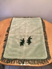 VINTAGE 1960s COACH BUILT PRAM BLANKET BY SLUMBERLAND WITH RABBITS FRINGED