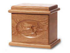 Wood Cremation Urn. Deluxe model with a Natural Finish with Loons Image