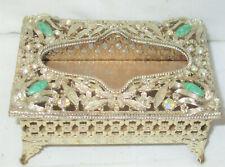 Vintage Sf Sam Fink Jeweled Mini Vanity Tissue Box Holder Filigree Gold Metal