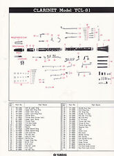 1980 YAMAHA MUSICAL INSTRUMENT PARTS LIST ad sheet - CLARINET model YCL-81