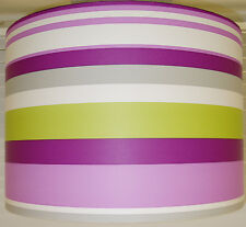 "20cm/8"" Lampshade Handmade from Plum Green Off White Stripe Wallpaper Purple"