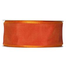 Fabric ribbon satin 40mm full 25m roll Deep Orange