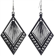 T1355 women rhombus cute handcraft black thread dangle earrings elegant new hot