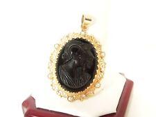 Vintage 14k YG  Onyx Cameo Seed Pearl Pendant  * GAL Appraisal * Gift Box