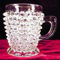 Antique Hobnail Mug Early American Pattern Glass Clear Footed Victorian