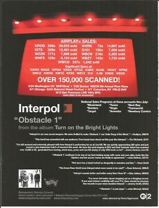 INTERPOL Rare 2003 VINTAGE Billy PROMO TRADE AD Poster for Bright CD USA MINT