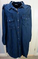 New Dark Blue DENIM Shirt Dress UK 20 EU 48 Plus Pockets Knee Length Casual