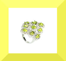 New Green Sapphire & White CZ Silver Cocktail Ring Size  7  FREE SHIPPING #200