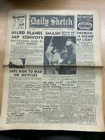 "WW2 ""ALLIES SMASH JAPANESE CONVOYS"" THE DAILY SKETCH NEWSPAPER 28 JAN 1942"