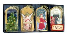 Punch Studio 16 Gold Foil 3-D Christmas Gift Tags Santa Angel 64768 Decoupage
