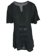 Ex Chainstore Ladies Black Embroidered T Shirt Top Tunic Size 8 - 20 (X1.18)
