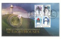 Australia 2015 Lighthouses 100 Years Block/4 Stamps & $1 UNC Coin Cover - PNC