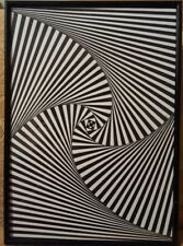 Framed Geometric Illusion Original Hand Drawn Artwork A4