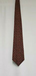 Mens James Meade Silk Tie Mens Navy & Red Floral Neck Tie 100% Pure Silk Tie
