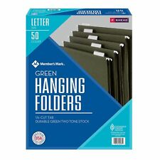 SMEAD HANGING FILE FOLDERS 1/5 Cut LETTER size 50/box GREEN office tab w/ insert