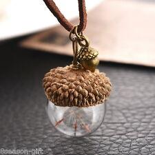 HX 1PC Acorn Shell Dandelion Glass Pendant Necklace For Women Jewelry 42cm