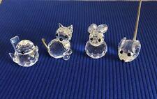 Lot (4) Swarovski Crystal Animal Figurines Bunny Chick Cat Mouse