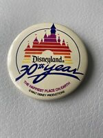 Walt Disney Disneyland 30th Year The Happiest Place On Earth Pin Back Button