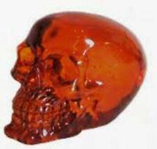 More details for small clear orange skull sculpture figurine gothic ornament figure decoration