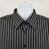Scott Barber Mens Black Blue Gray Striped L/S Dress Button Shirt Sz XL