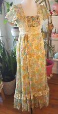 Women's Vintage Multi Color Floral Pastel Gunne Sax 1970s Hippie Maxi Dress Lace