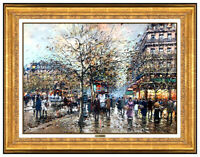 Antoine Blanchard Original Oil Painting On Canvas Paris Cityscape Signed Artwork