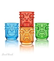 Final Touch TIKI TUMBLERS Hawaiian Themed for Cocktail Luau Parties Fun Set of 4