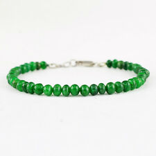 RARE 56.00 CTS EARTH MINED RICH GREEN EMERALD ROUND BEADS BRACELET - ON SALE