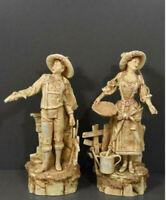 Antique Art nouveau BERNARD BLOCH marked terracotta ceramic figurine boy girl