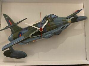 Hawker Hunter Jet Fighter novelty wooden wall clock British  Lark Rise