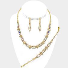 Bridal prom Aurora Borealis AB necklace bracelet earring set sparkly rhinestone