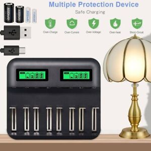 8-Slot LCD Display USB Battery Charger for AA AAA C/D Rechargeable Battery