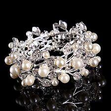 Accesorios nupciales Pulsera Crystal Diamantes Rhinestones Pearl elástico Fitness