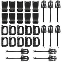30 Pcs Black Tactical Gear Clip Set D-ring Grimloc Lock for Molle System or Bags