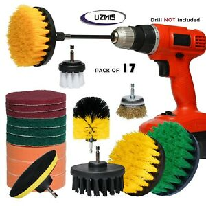 Drill Brush Set 17 Piece Incl Metal Wire Brush Cleaning Scrubber Sponge Car Wash