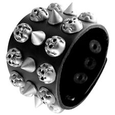 Men Cool Punk Biker Black Leather Cuff Jolly Roger Skull and Spikes Bracelet