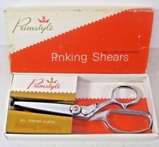 """All Chrome Plated Woolworth Co Primstyle Rnking Shears Made Japan 7"""" Scissors"""