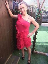 KAREN MILLEN 100% SILK ONE SHOULDER PINK SUMMER PARTY COCKTAIL PROM DRESS ~UK 10