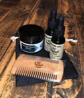 "Ironside Gift Pack"" Beard Oil Balm Comb Organic Vegan Hemp Oil"